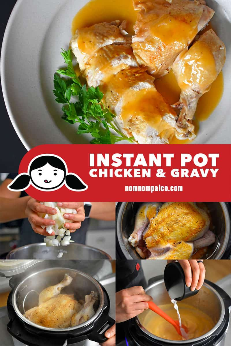 A collage of the cooking steps to make Instant Pot Chicken & Gravy.