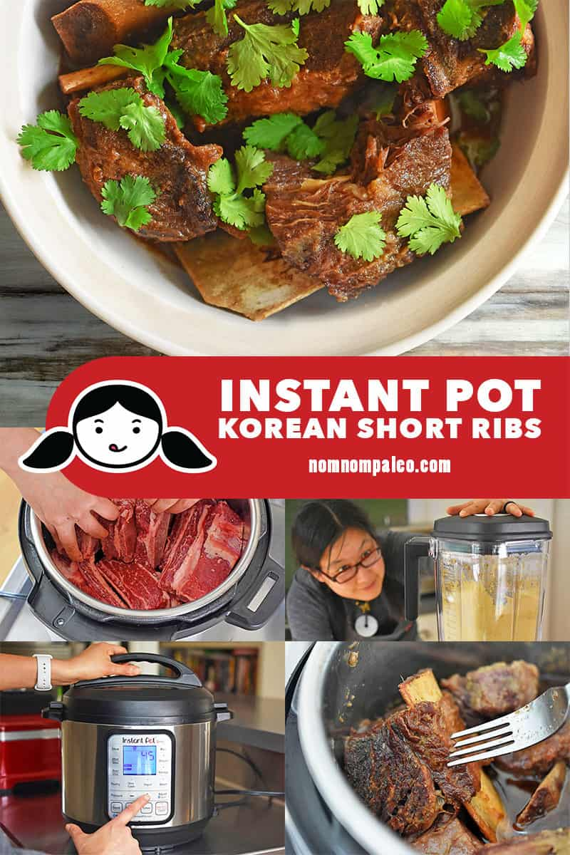A collage of the cooking steps to make Instant Pot Korean Short Ribs.