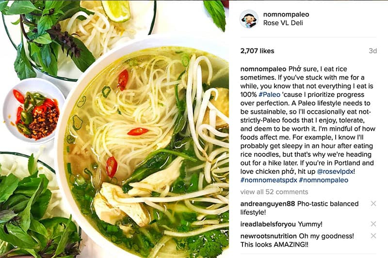 A shot of Nom Nom Paleo's Instagram photo of Chicken Pho from Rose VL in Portland.