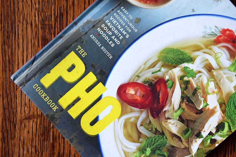 A side shot of Andrea Nguyen's The Pho Cookbook cover.