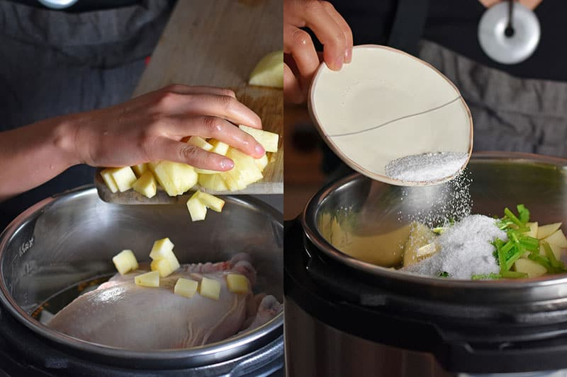 Adding diced apples, salt, and herbs to the Instant Pot.