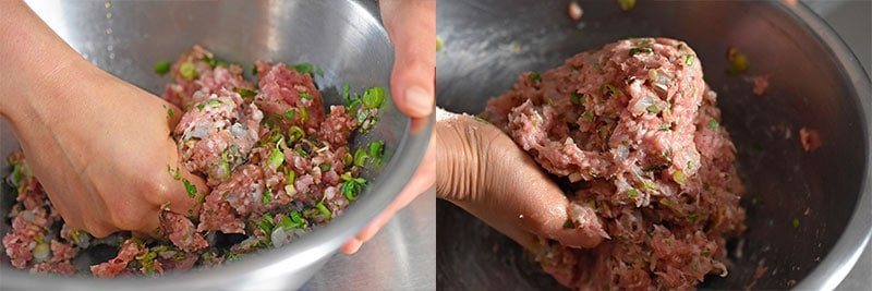 Using hands to combine the Wonton Meatballs