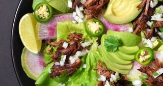 An overhead shot of Instant Pot (Pressure Cooker) Carnitas on a bed of lettuce with sliced peppers, avocado, and radishes.
