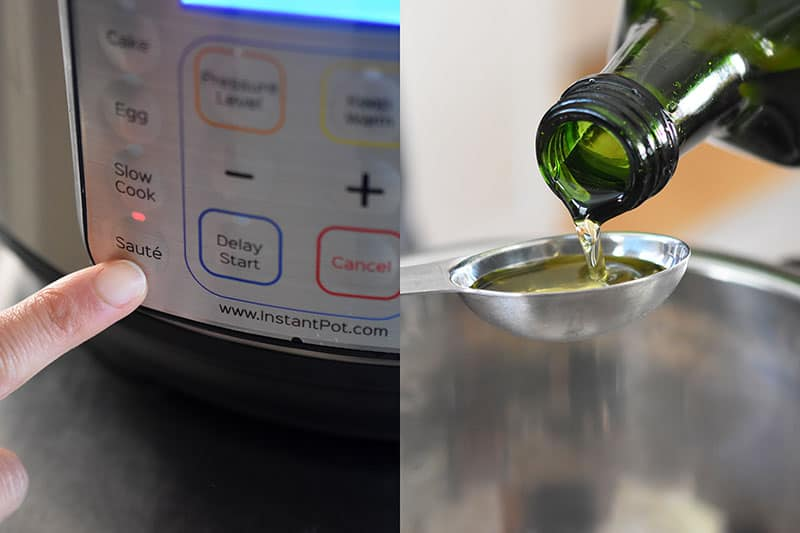 The image on the left is a close up of the Instant Pot display panel with a finger pressing the Sauté button. On the right, there is a close up of a bottle of avocado oil being poured into a measuring spoon above an Instant Pot.