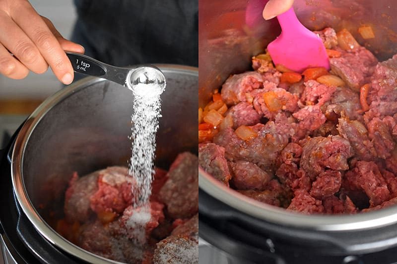 In the image on the left, a hand is sprinkling salt from a measuring spoon onto the Instant Pot Ground Beef Chili. In the image on the right a pink spatula is stirring the contents of Instant Pot ground beef chili.