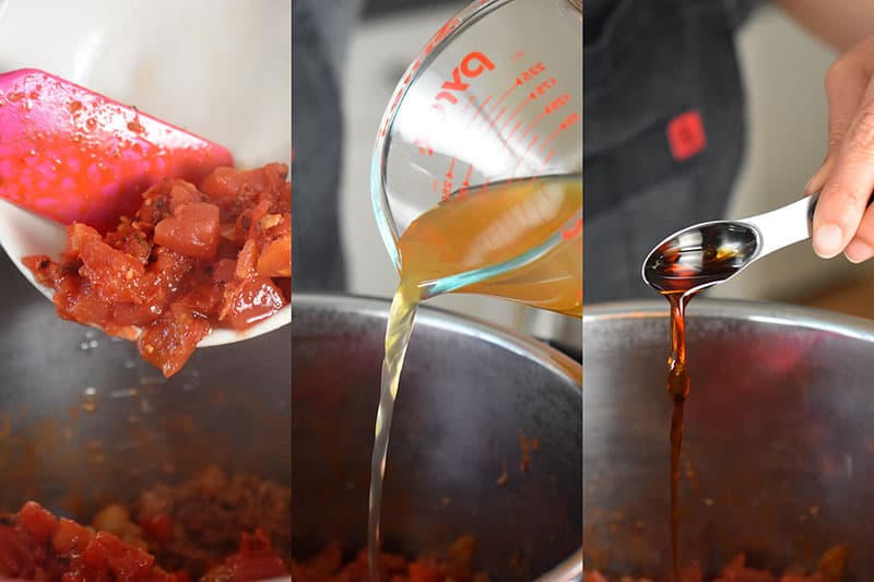 Three side by side images of drained diced tomatoes, broth, and fish sauce being added to an open Instant Pot.