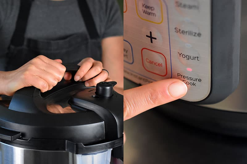 In the image on the left, two hands are shown locking the lid on an Instant Pot. In the image on the right, there is a closeup of a finger pressing the Pressure Cook button on an Instant Pot display panel.