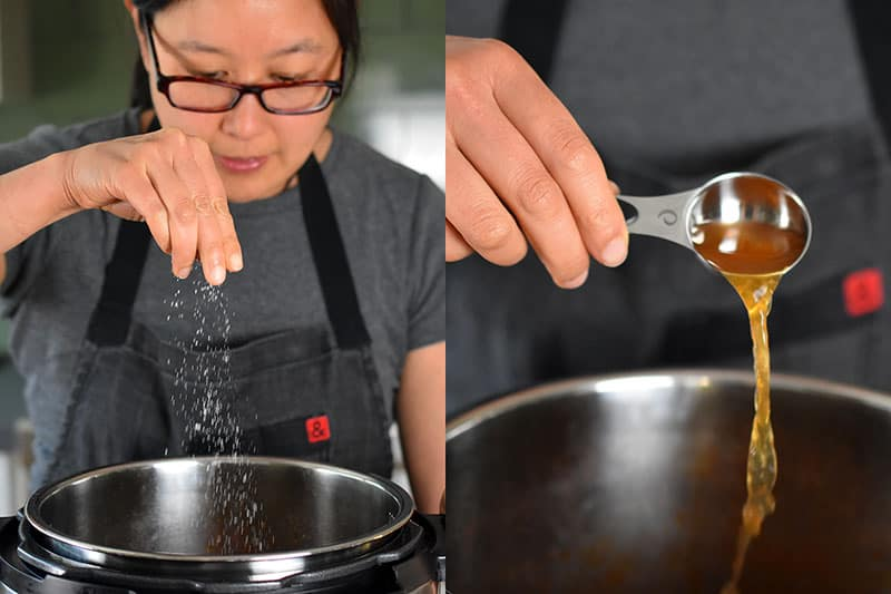 In the image on the left, a woman in glasses is sprinkling salt into an open Instant Pot. In the image on the right, a hand is shown pouring apple cider vinegar from a measuring spoon into an open Instant Pot.