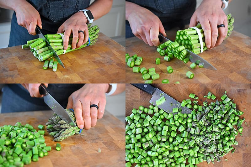 Trimming the ends of asparagus and cutting the stalks into thin coins for Spicy Pork and Asparagus Stir-Fry