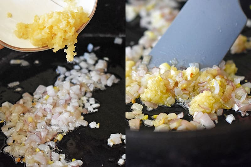 Adding minced garlic to the sautéed diced shallots in the pan