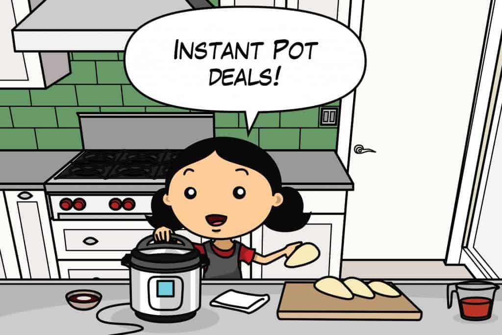 "A cartoon of Michelle Tam of Nom Nom Paleo in a kitchen with an Instant Pot with a word bubble saying, ""Instant Pot Deals!"""
