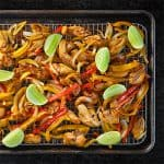 Sheet Pan Chicken Fajitas + Avocado Crema by Michelle Tam https://nomnompaleo.com
