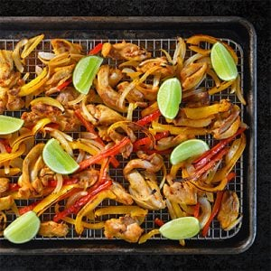 Sheet Pan Chicken Fajitas + Avocado Crema by Michelle Tam http://nomnompaleo.com