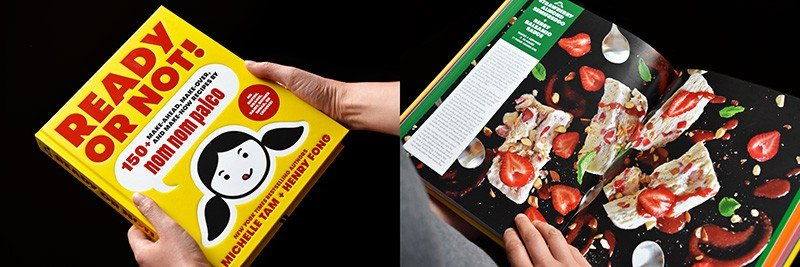 A picture of Ready or Not! cookbook and shot of the book opened up to a dessert recipe