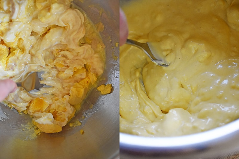 The yolks, mayonnaise, mustard, and lemon juice are mixed until smooth.