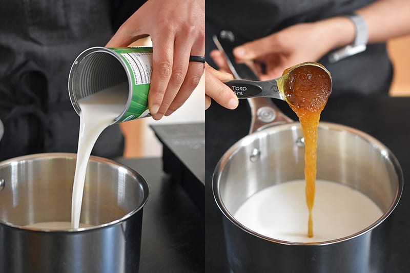 Pouring coconut milk and honey into a small saucepan to make paleo vanilla pudding, a dairy-free and gluten-free healthy dessert.