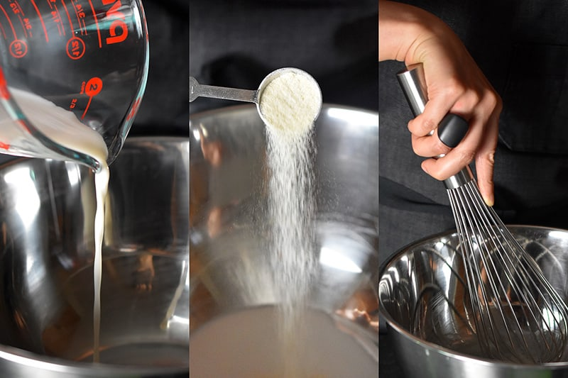 Pouring coconut milk and gelatin into a metal bowl and whisking it together.