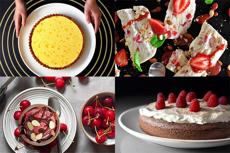 A four-picture collage of paleo desserts from Ready or Not Cookbook from Nom Nom Paleo