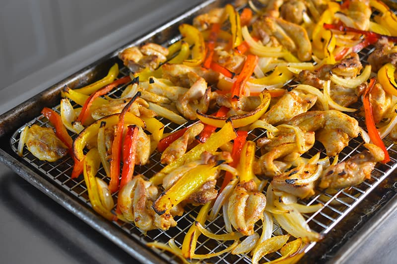 Sheet Pan Chicken Fajitas baked on a wire rack are not soggy