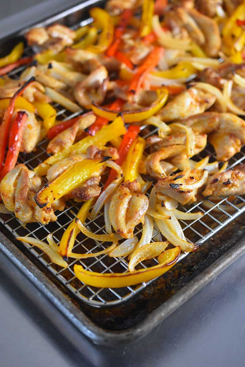 Sheet Pan Chicken Fajitas fresh from the oven.