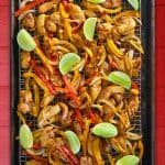 Sheet Pan Chicken Fajitas + Avocado Crema
