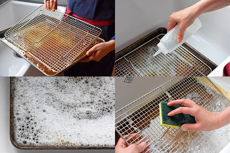 Steps on how to clean a dirty stainless steel wire rack in the sink. Soak it upside down in soapy water in a rimmed baking sheet and scrub off the grime.