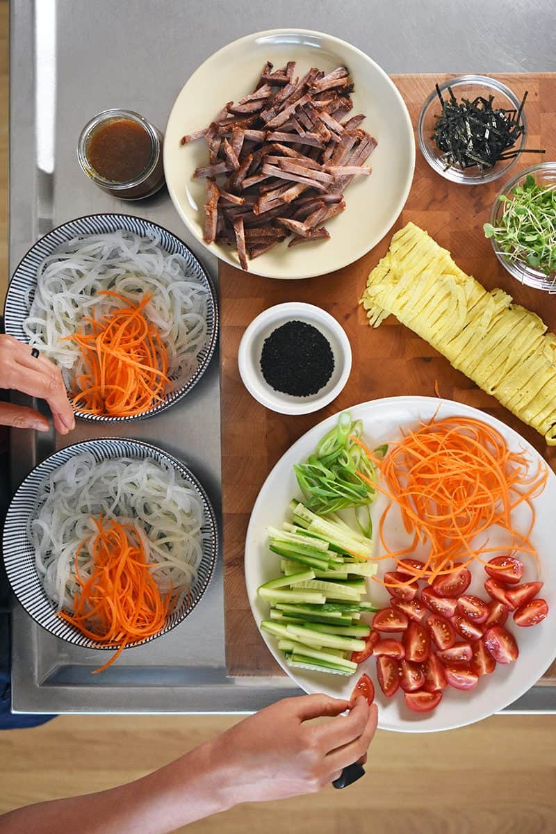 An overhead shot of all the prepped ingredients for Paleo Hiyashi Chūka.