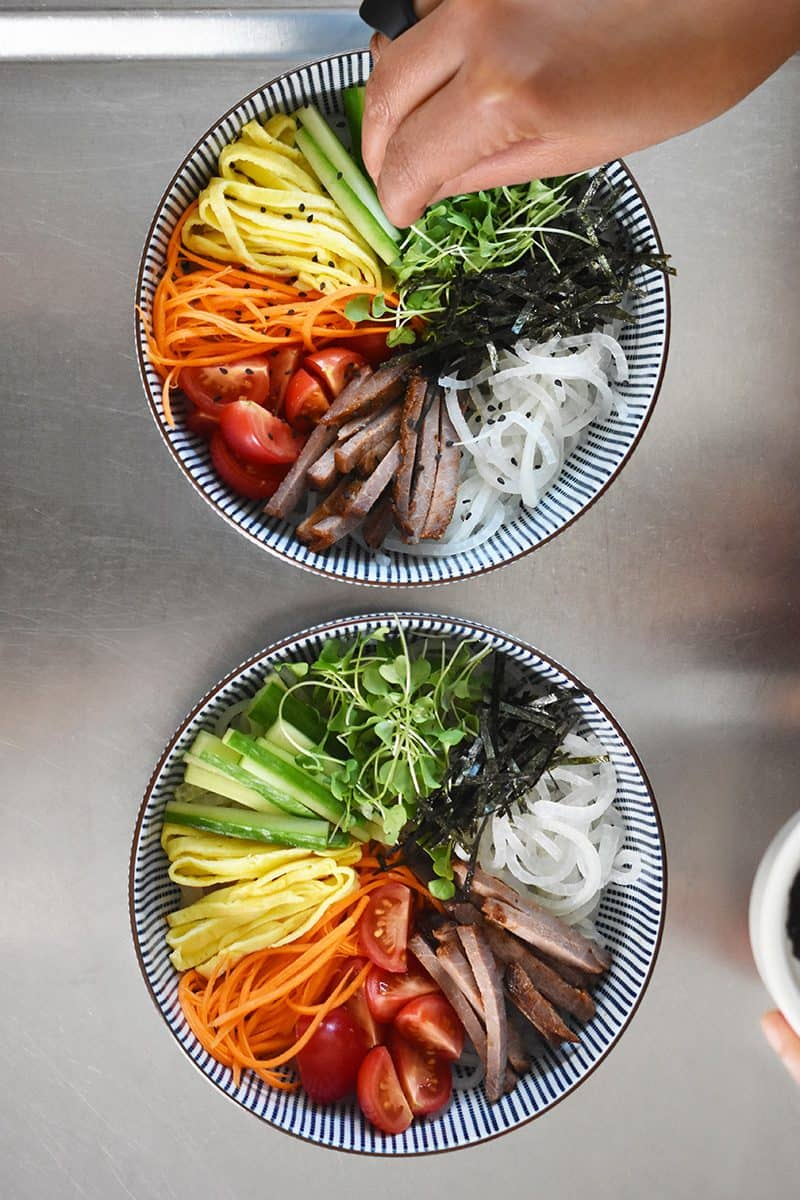 Two prepped bowls of Paleo Hiyashi Chūka.