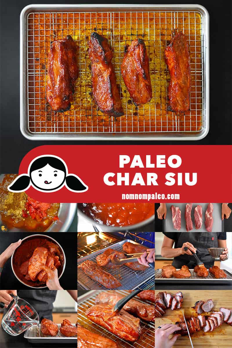Step-by-step collage of the steps to make paleo char siu.