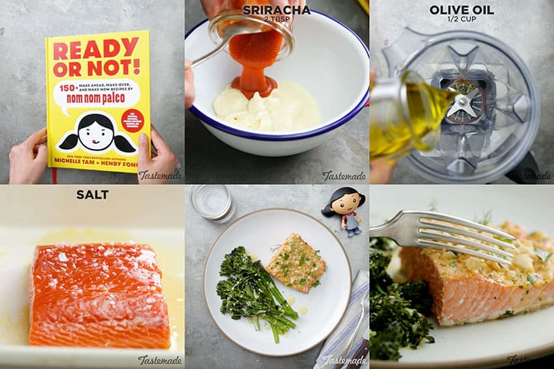 A step by step collage of steps to make macadamia crusted salmon.