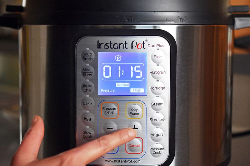 The Instant Pot is programmed to cook for 75 minutes under high pressure