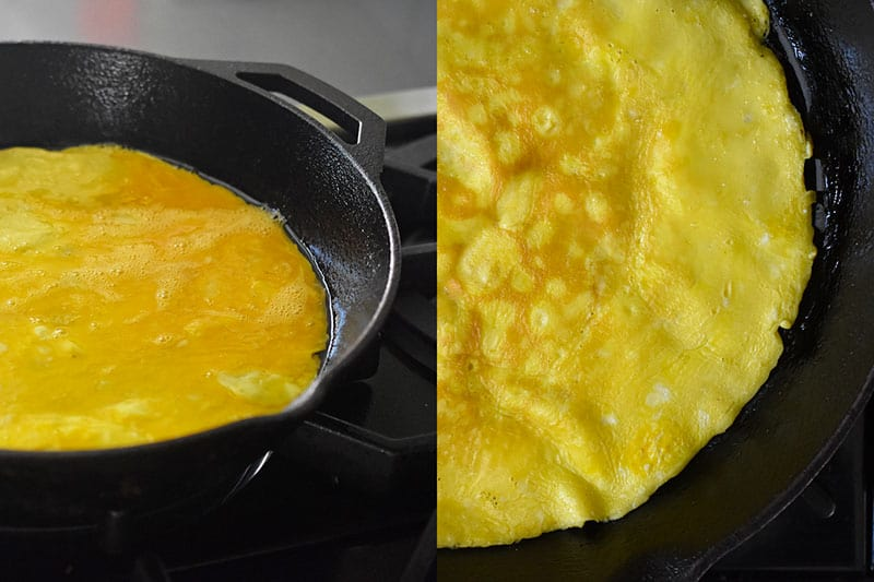 Eggs frying in a pan.