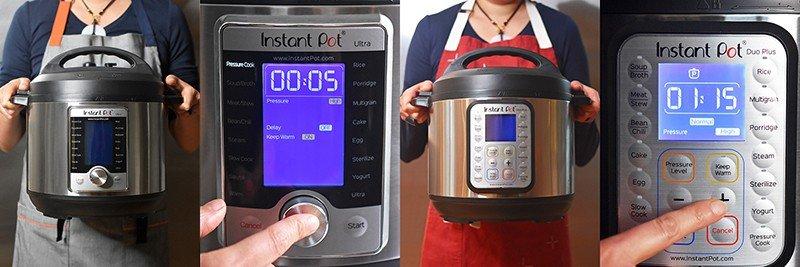 Front shots of the Instant Pot Ultra and Instant Pot Duo Plus