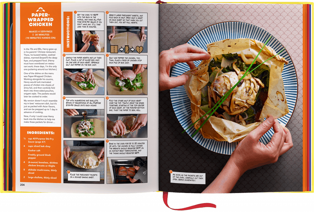 The Ready or Not! cookbook by Michelle Tam is opened up to the recipe of paper-wrapped chicken.
