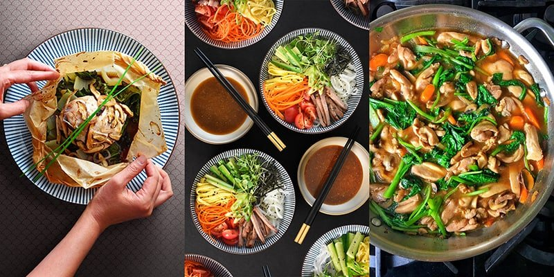 An overhead shot of the different things you can make with All-Purpose Stir-Fry Sauce