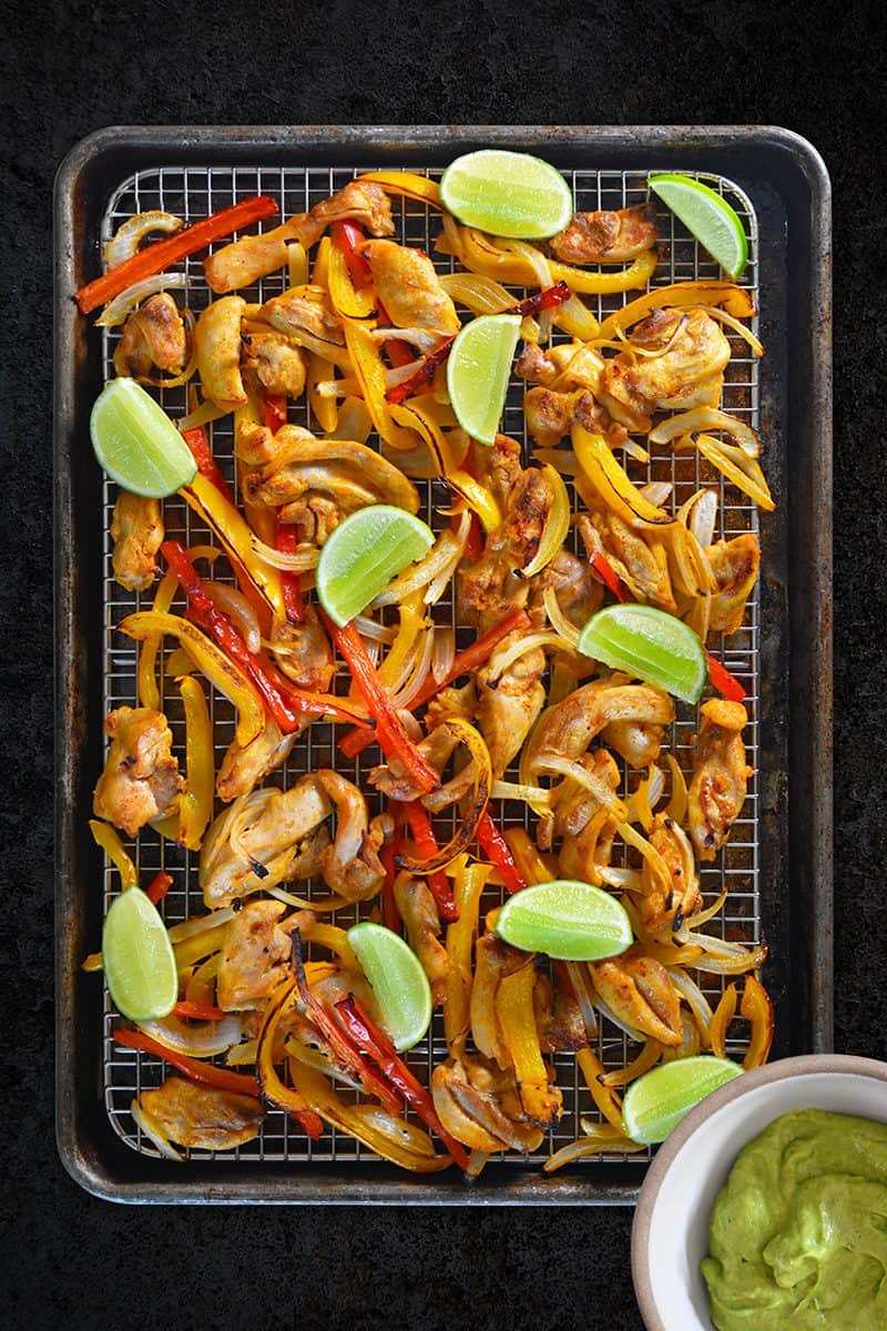Whole30 Day 2: Sheet Pan Chicken Fajitas + Avocado Crema by Michelle Tam / Nom Nom Paleo https://nomnompaleo.com