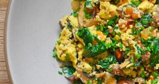 An overhead shot of Joe's Special Scramble on a large plate.