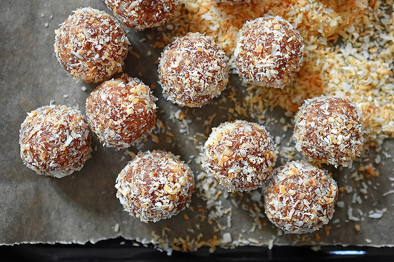 An overhead shot of Liar balls, a paleo copycat version of Lara bars