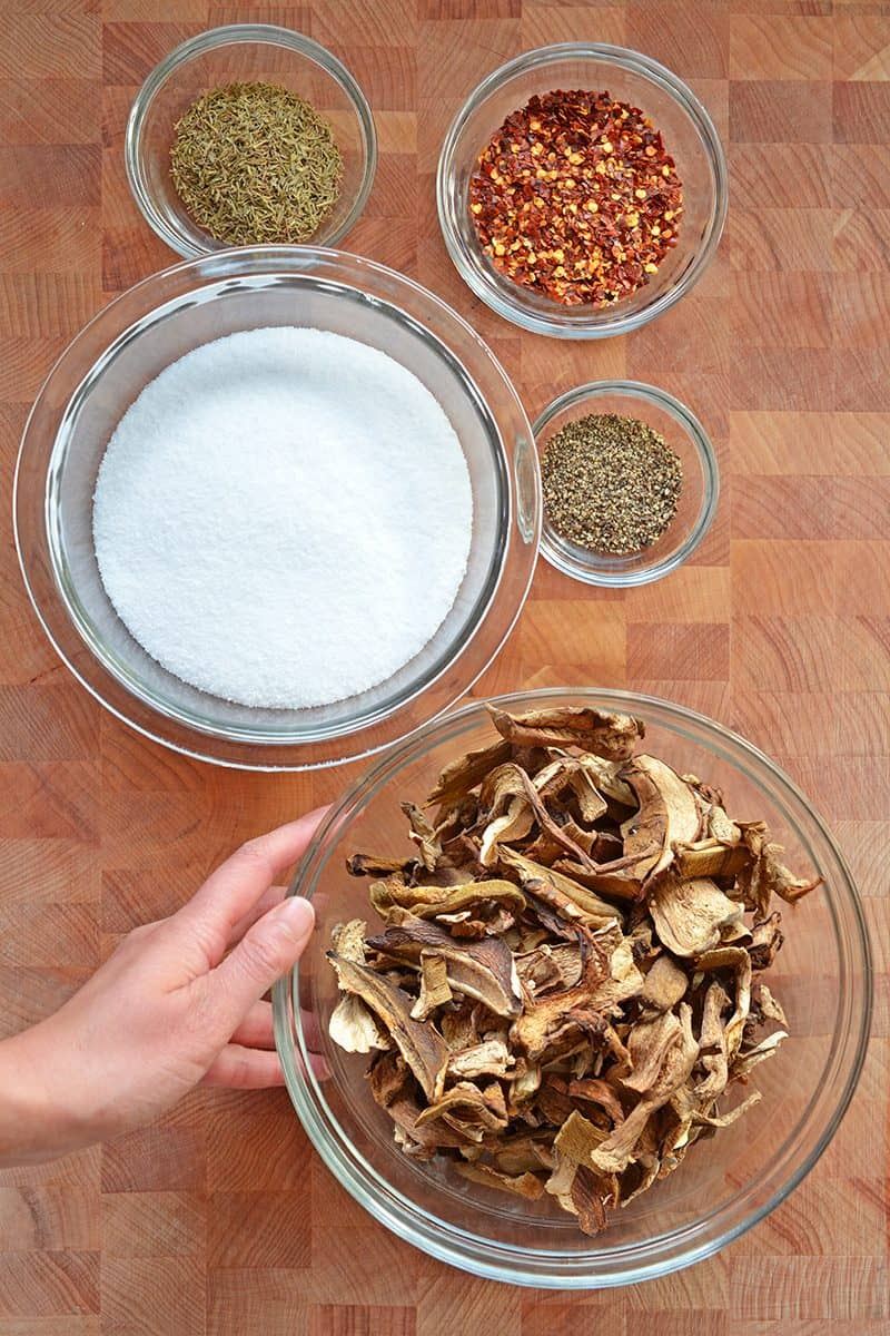 An overhead shot of the all the ingredients needed to make Magic Mushroom Powder