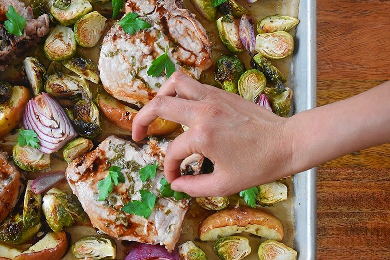 Sheet Pan Pork Chop Supper by Michelle Tam / Nom Nom Paleo https://nomnompaleo.com