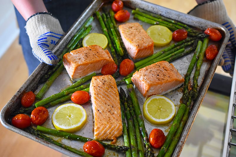 Sheet Pan Salmon Supper right out of the oven.