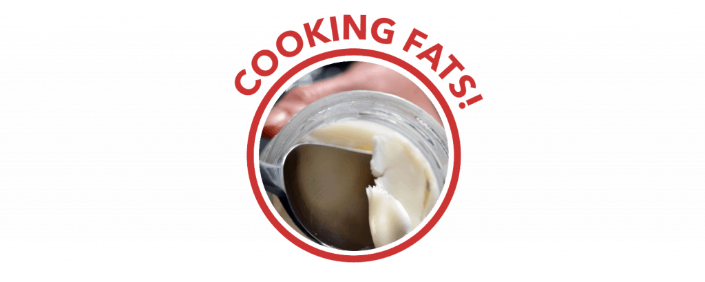 "A red circle labelled ""Cooking Fats!"" on top. Inside the circle is a spoon scooping lard from a jar."