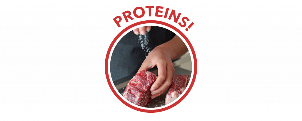 "A circle with the word ""Proteins!"" on top. Inside is a picture of a person salting some steaks."