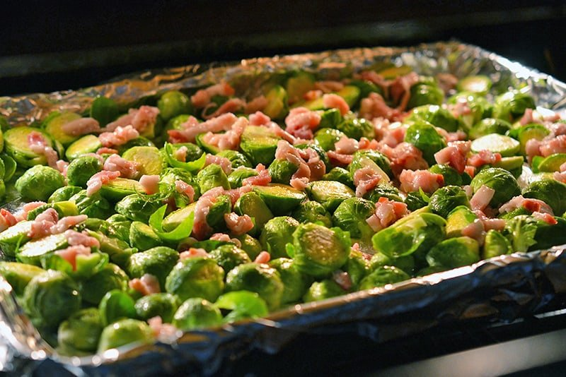 Roasted Brussels Sprouts and Bacon baking in the oven.