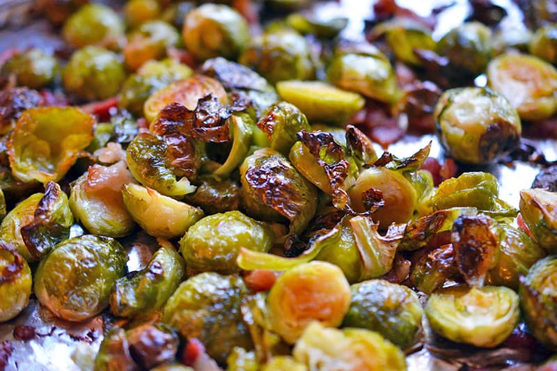A closeup shot of Roasted Brussels Sprouts and Bacon