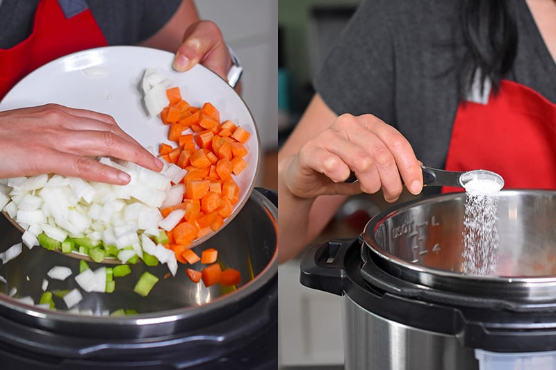 Adding diced onions, carrots, and celery to an open Instant Pot and adding salt.