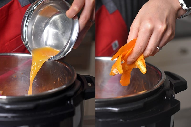 Pouring orange juice and orange zest into an open Instant Pot (Pressure Cooker) to make Orange Duck and Gravy