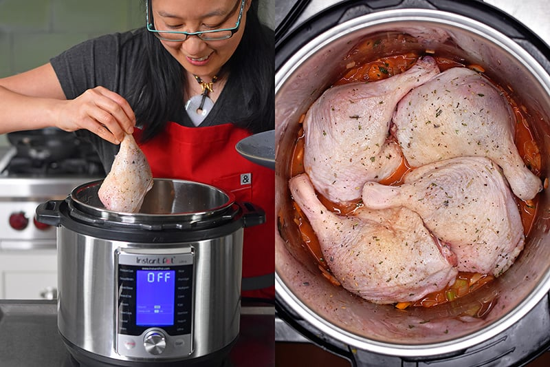 Adding duck legs skin side up in an Instant Pot to make Orange Duck and Gravy