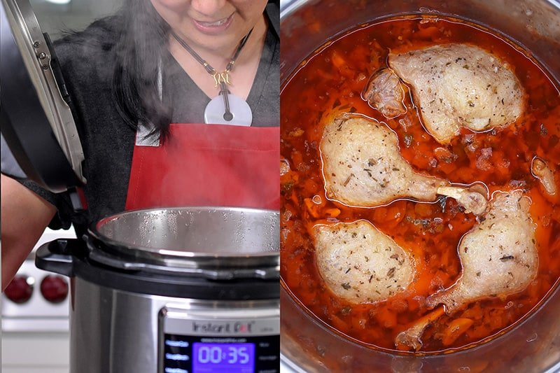 Unlocking an Instant Pot and an overhead shot of the finished orange duck legs and gravy.
