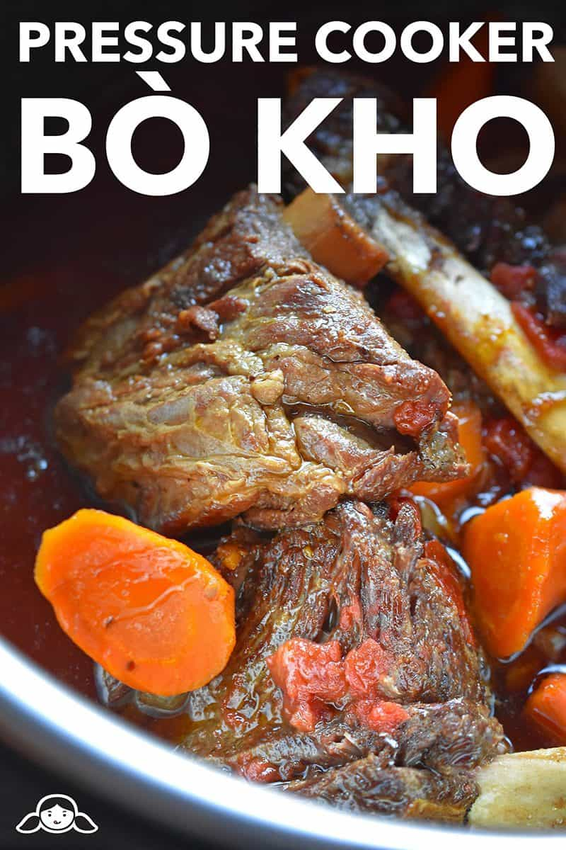 A closeup shot of Instant Pot (Pressure Cooker) Bò Kho (Vietnamese Beef Stew)
